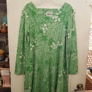 Vintage 1970's The Talbots Green White Caftan